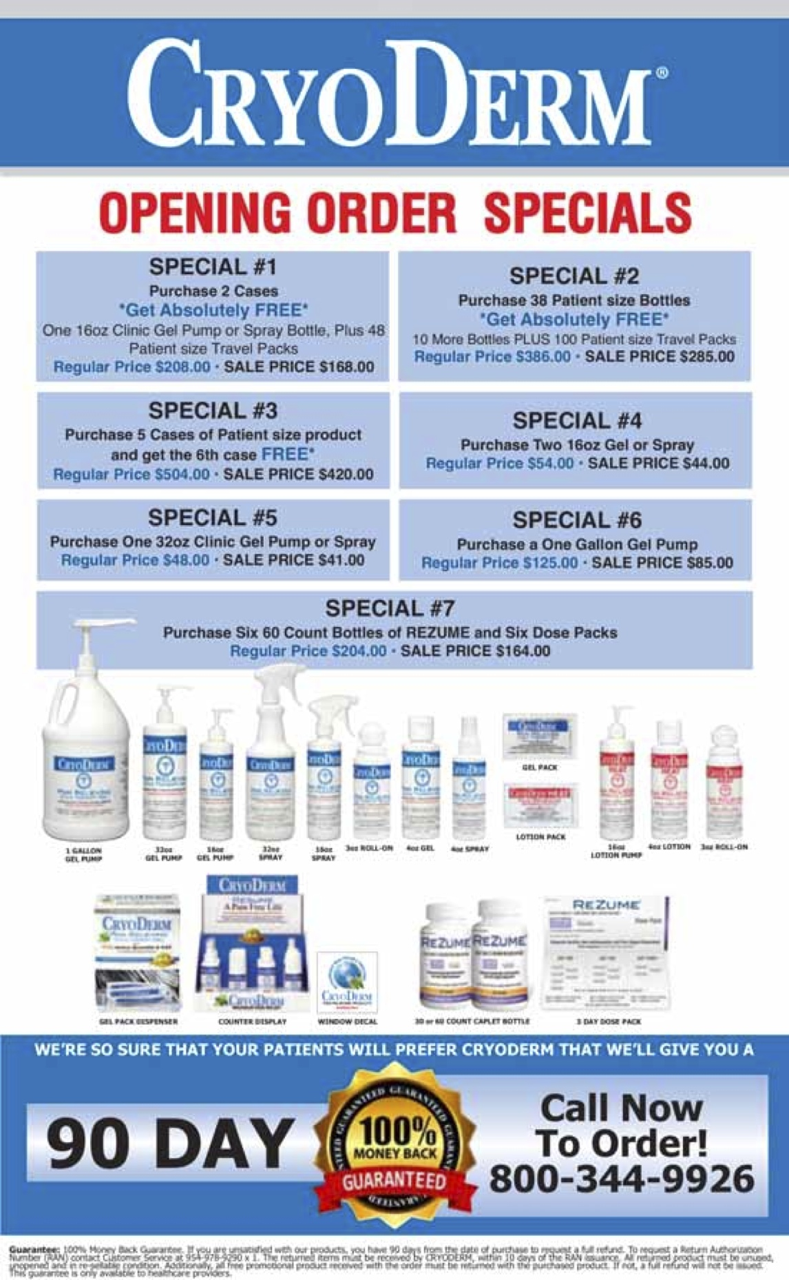 CyroDerm Opening Order Specials